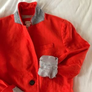J. Crew Jackets & Coats - J. Crew Bright Orange Linen Blazer